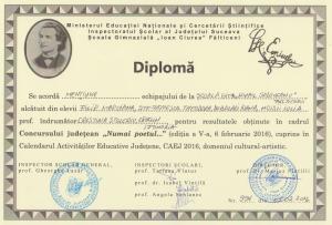 diploma Eminescu